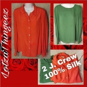 2 J. Crew Green & Bright Orange 100% Silk Blouse T